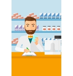 Pharmacist taking notes vector