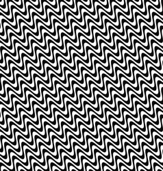 Repeating black and white wave pattern vector