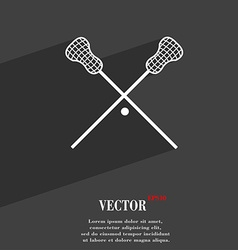 Lacrosse sticks crossed symbol flat modern web vector