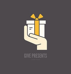 Hand with present vector