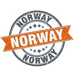 Norway red round grunge vintage ribbon stamp vector
