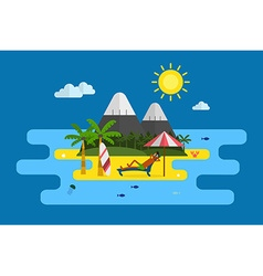 Tropical island vacation postcard vector