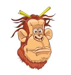An orangutan on a white background vector