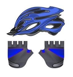 Blue helmet and gloves vector