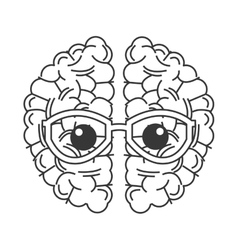brain with glasses icon vector image