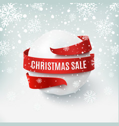 christmas sale snow ball with red bow and ribbon vector image vector image