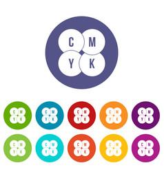 Cmyk circles set icons vector