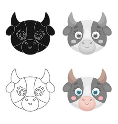 cow muzzle icon in cartoon style isolated on white vector image vector image