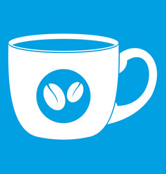 Cup of coffee icon white vector