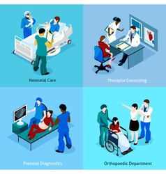 Doctor patient isometric icon set vector