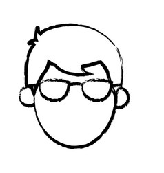 Faceless head man with glasses people sketch vector