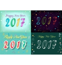 Happy new year 2017 space watercolor flowers vector