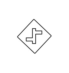 Intersection road sign icon vector