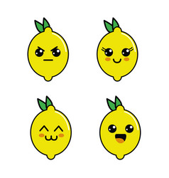 kawaii lemon diferents faces icon vector image vector image