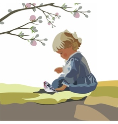 Little baby girl playing in a garden vector