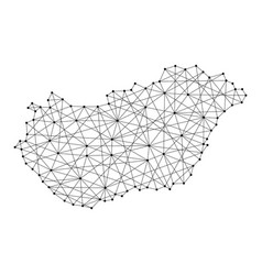 Map of hungary from polygonal black lines and dots vector