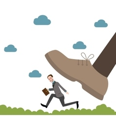 Running from giant unfair competition business big vector