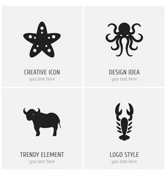 Set of 4 editable zoo icons includes symbols such vector