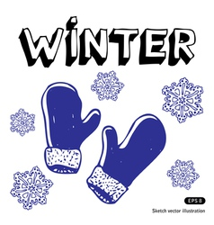 Snowflakes and mittens vector