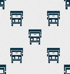 Truck icon sign seamless pattern with geometric vector