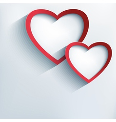 Valentine background with two stylish 3d hearts vector image