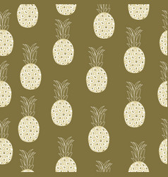 vintage pineapple seamless pattern retro style vector image
