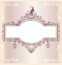 vintage wedding frame with bird vector image vector image