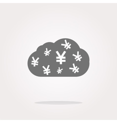 web icon cloud with yen sign web button isolated vector image vector image