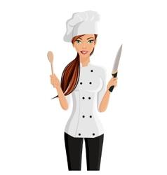 Woman chef portrait vector
