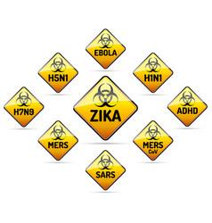 Zika mers sars h5n1 biohazard virus sign vector