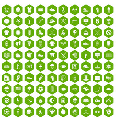 100 baseball icons hexagon green vector
