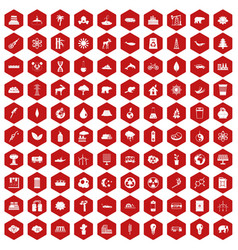 100 eco icons hexagon red vector
