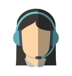 Isolated operator woman with headphone design vector