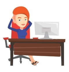 Business woman relaxing in office vector