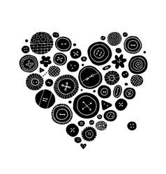 Buttons collection heart shape sketch for your vector