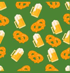 Beer and pretzel pattern vector