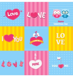 Retro love cards vector