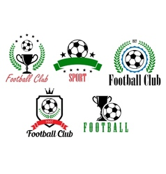 Football and soccer symbols or emblems vector image