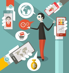 Business Man - Cell Phones - Social Media Symbols vector image