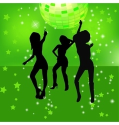 Dancing silhouettes of woman in a nightclub vector