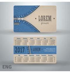 English pocket calendar for 2017 from cardboard vector