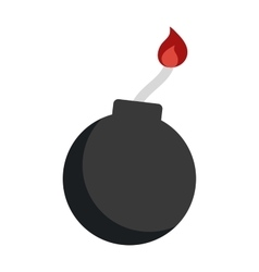 Bomb with burning wick weapon flat vector