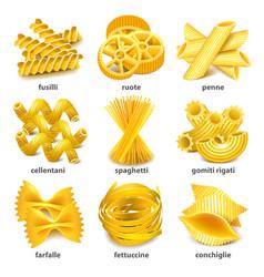 Pasta types icons set vector