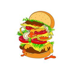 A fantastic hamburger bun vector