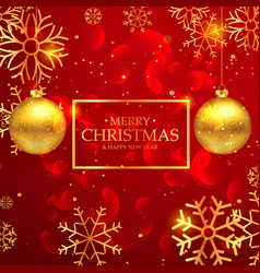 amazing red merry christmas greeting card with vector image