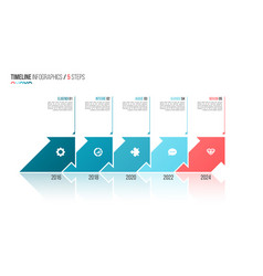 arrows shaped timeline infographic template 5 vector image
