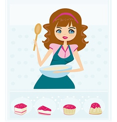 Beautiful young lady cooking cakes vector image vector image