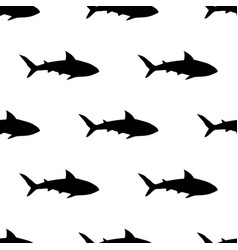 black shark pattern on white vector image vector image