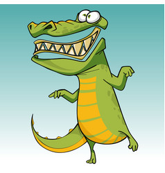 cartoon funny scary toothy crocodile is standing vector image vector image
