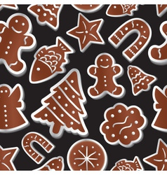 christmas various gingerbread symbols seamless vector image vector image